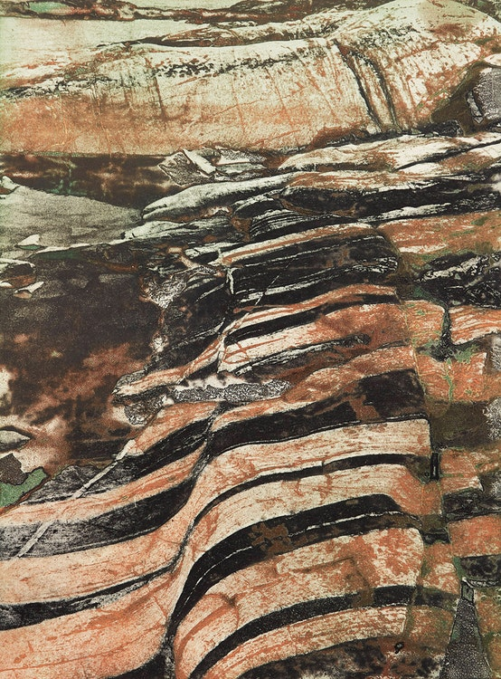 Artwork by Edward John Bartram,  Banded Rock, Precambrian Shield Series