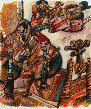 Artwork by Theo Tobiasse, Poème à trois voix au pied de la montagne (three works)