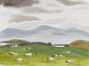 Artwork by Doris Jean McCarthy, Irish Sheep (From Caroline's Road, Co. Mayo)