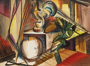 Artwork by George Campbell Tinning, Still Life with Plant and Rooster
