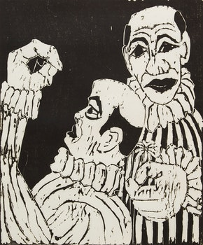 Artwork by John Harold Thomas Snow, Two Clowns