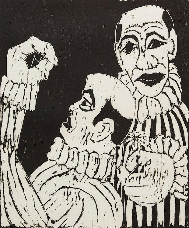 Artwork by John Harold Thomas Snow,  Two Clowns
