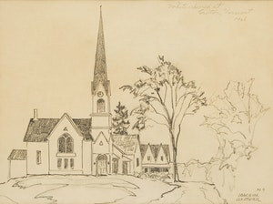 Artwork by Joachim George Gauthier, White Church at Groton, Vermont
