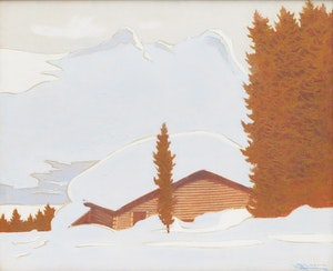 Artwork by Halford A. Tygesen, Log Cabin in Winter