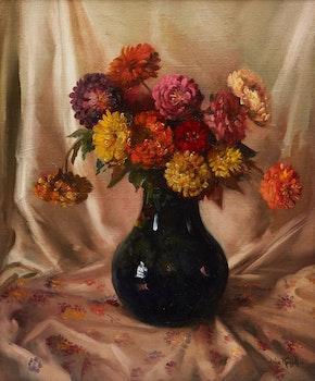 Artwork by John Wentworth Russell, Zinneas