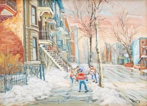 Artwork by Marcel Ravary, La partie (rue St Hubert)