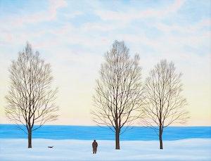 Artwork by Philip Sybal, Dog Walk Along the Shore