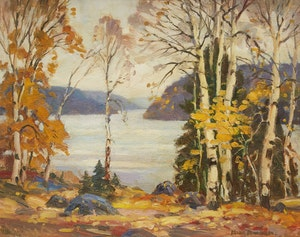 Artwork by Frank Shirley Panabaker, Birch Trees and Lake