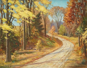 Artwork by Frank Shirley Panabaker, Laneway through Forest