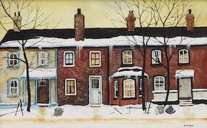 Artwork by John Kasyn, Row of Old Houses, Toronto