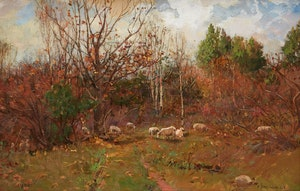 Artwork by Peleg Franklin Brownell, Landscape with Sheep