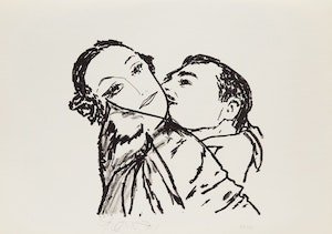 Artwork by Harold Barling Town, Clark Gable and Joan Crawford