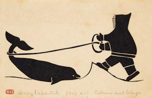 Artwork by Henry Napartuk, Eskimo and Beluga