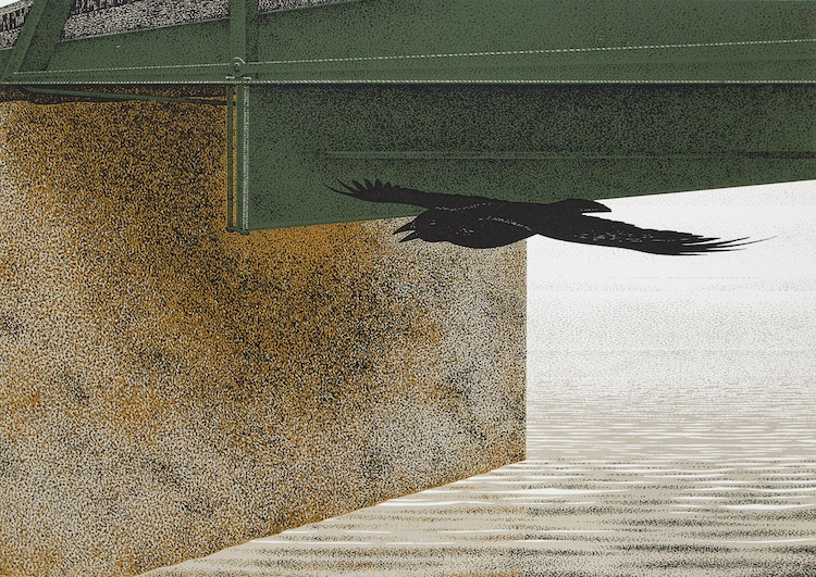 Artwork by David Alexander Colville,  Bridge and Raven