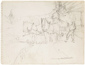 Artwork by Manly Edward MacDonald, Horses and Farmers at Work; Donkey