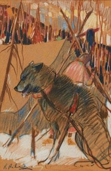 Artwork by Rene Richard, Sled Dog, Algoma
