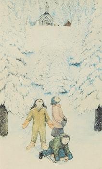 Artwork by William Kurelek, Excitement Over First Heavy Snow