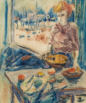 Artwork by Henri Leopold Masson, Woman with Mandolin
