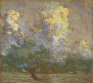 Artwork by George Agnew Reid, Landscape with Clouds