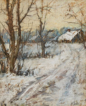 Artwork by Berthe Des Clayes, Country Farm in Winter