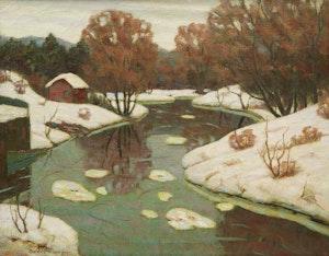 Artwork by George Thomson, Ice Floes, Syndenham River, Owen Sound