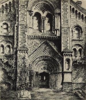 Artwork by Edward J. Cherry, Church Entrance