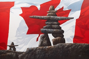 Artwork by Ken Kirkby, Inukshuk with Canadian Flag