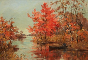 Artwork by Berthe Des Clayes, Autumn on the St. Francis