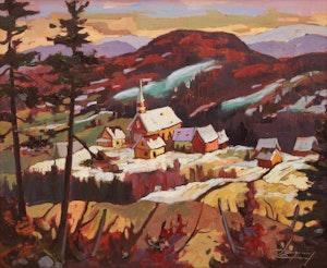"""Artwork by Claude Langevin, """"Le beau Eglise"""" Petit Saguenay"""
