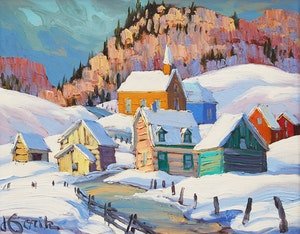 Artwork by Vladimir Horik, Winter Village Scene
