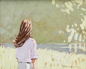 Artwork by André Bertounesque, Shoreline with Figure