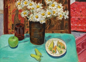 Artwork by Frances Anne Johnston, Daisies and Fruit