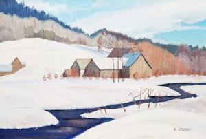 Artwork by R Ashby, Winter Farm Scene