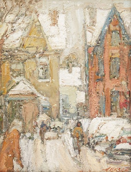 Artwork by Donald Besco, Winter Near Kensington