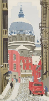 Artwork by Frederick Bourchier Taylor, Looking up St. Cecile Street