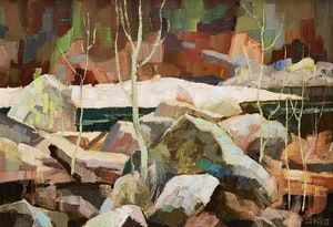 Artwork by Hilton MacDonald Hassell, Poplars and Rock, Montreal River, c.1960