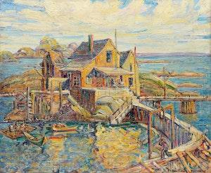 Artwork by Hortense Mattice Gordon, Lobster Pond- Friendship Island, Maine