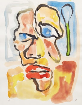 Artwork by Harold Klunder, Untitled (Portrait)
