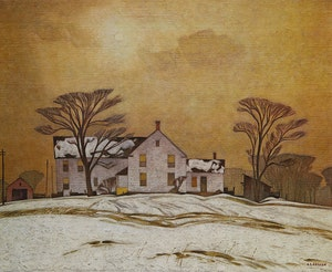 Artwork by Alfred Joseph Casson, Farm House; Early Snow; Below Ragged Falls