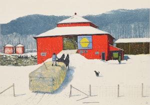 Artwork by William Kurelek, Snowfall Ending on Quebec-Ontario Border