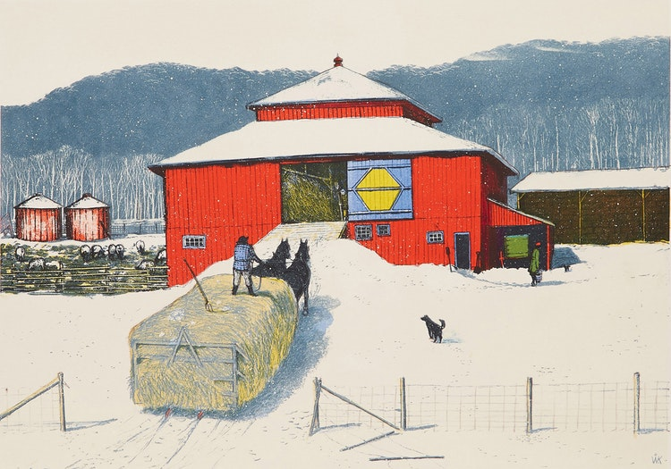 Artwork by William Kurelek,  Snowfall Ending on Quebec-Ontario Border