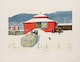 Thumbnail of Artwork by William Kurelek,  Snowfall Ending on Quebec-Ontario Border