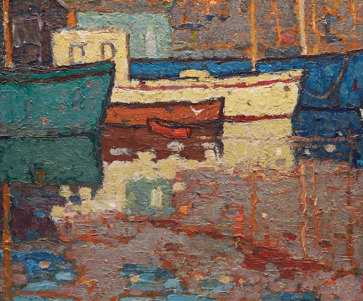 Artwork by Wilfred Forbes Withrow,  Boats at the Harbour