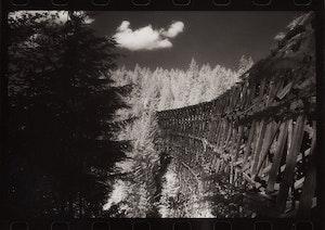 Artwork by Jane Hinton, Canadian Cliché #3, B.C. Wooden Trestle Singel