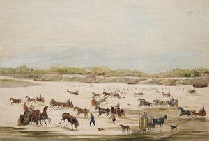 Artwork by  After J. T. Downman, Sleigh Scene, Toronto Bay, Canada West, 1853