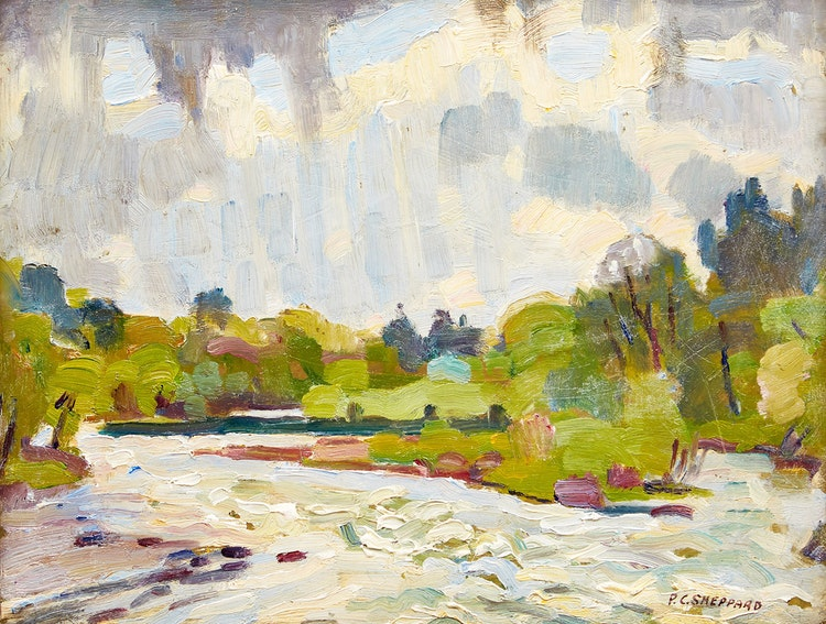Artwork by Peter Clapham Sheppard,  Stream over Muskoka River