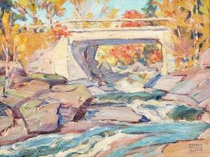 Artwork by Bernice Fenwick Martin, Buttermilk Falls, Burk's Falls, Ontario, Magnetwan River, c. 1932