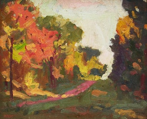 Artwork by Dewitt Drake, Road Through Autumn Woods; Cabins Amid Trees