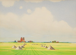 Artwork by Robert N. Hurley, Farm Landscape with Haystacks