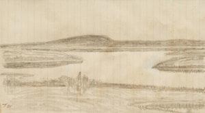 Artwork by Thoreau MacDonald, Marsh Hawk; Untitled Landscape